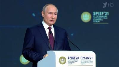 Владимир Путин принимает участие в пленарном заседании на Петербургском экономическом форуме