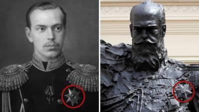 На новом памятнике Александру III нашли неправильный орден