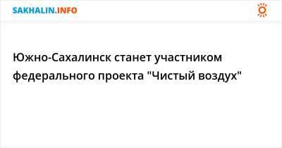 """Южно-Сахалинск станет участником федерального проекта """"Чистый воздух"""""""