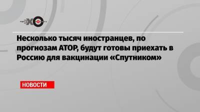 Несколько тысяч иностранцев, по прогнозам АТОР, будут готовы приехать в Россию для вакцинации «Спутником»