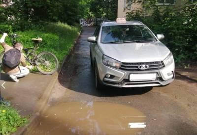 Велосипедист попал под такси в Рязани