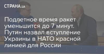 Подлетное время ракет уменьшится до 7 минут. Путин назвал вступление Украины в НАТО красной линией для России