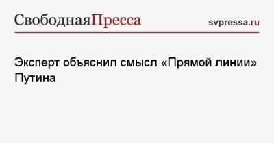 Эксперт объяснил смысл «Прямой линии» Путина