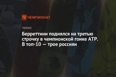 Берреттини поднялся на третью строчку в чемпионской гонке ATP. В топ-10 — трое россиян