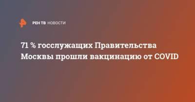 71 % госслужащих Правительства Москвы прошли вакцинацию от COVID