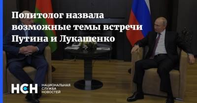 Политолог назвала возможные темы встречи Путина и Лукашенко