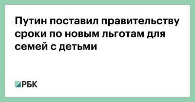 Путин поставил правительству сроки по новым льготам для семей с детьми