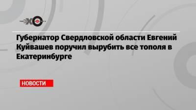 Губернатор Свердловской области Евгений Куйвашев поручил вырубить все тополя в Екатеринбурге