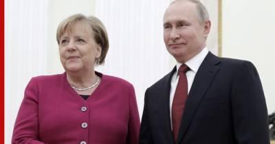 """Меркель обсудила с Путиным урегулирование на Украине и """"Северный поток-2"""""""