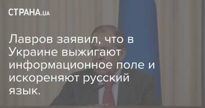 Лавров заявил, что в Украине выжигают информационное поле и искореняют русский язык.