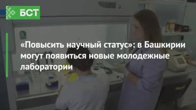 «Повысить научный статус»: в Башкирии могут появиться новые молодежные лаборатории