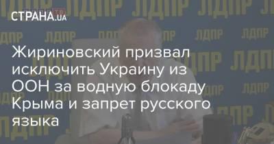 Жириновский призвал исключить Украину из ООН за водную блокаду Крыма и запрет русского языка