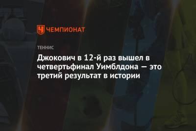 Джокович в 12-й раз вышел в четвертьфинал Уимблдона — это третий результат в истории