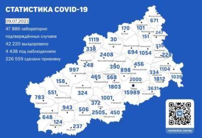 В Твери +77 зараженных. Карта коронавируса в Тверской области за 9 июля