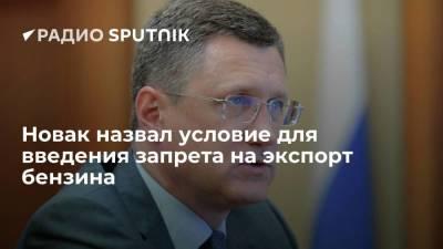 Новак назвал условие для введения запрета на экспорт бензина