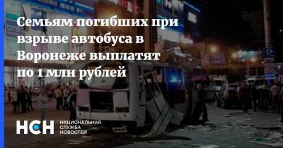Семьям погибших при взрыве автобуса в Воронеже выплатят по 1 млн рублей