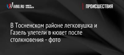 В Тосненском районе легковушка и Газель улетели в кювет после столкновения — фото