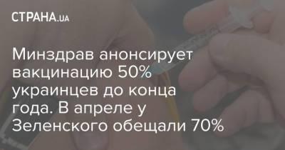 Минздрав анонсирует вакцинацию 50% украинцев до конца года. В апреле у Зеленского обещали 70%