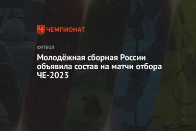 Молодёжная сборная России объявила состав на матчи отбора ЧЕ-2023