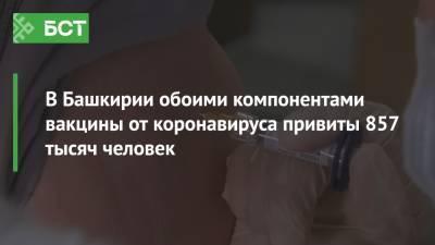 В Башкирии обоими компонентами вакцины от коронавируса привиты 857 тысяч человек