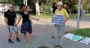Пикетчик в Волгограде потребовал отменить штраф защитнице Волго-Ахтубинской поймы