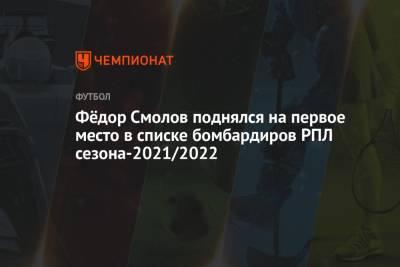Фёдор Смолов поднялся на первое место в списке бомбардиров РПЛ сезона-2021/2022
