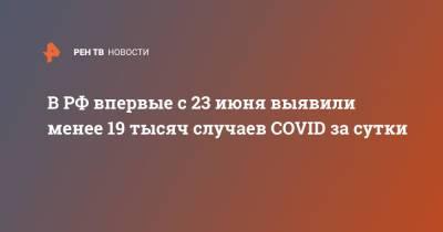 В РФ впервые с 23 июня выявили менее 19 тысяч случаев COVID за сутки