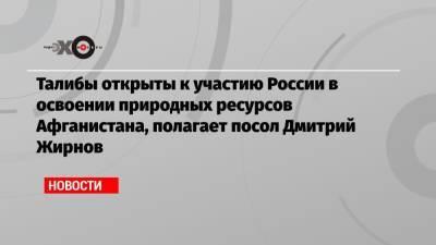 Талибы открыты к участию России в освоении природных ресурсов Афганистана, полагает посол Дмитрий Жирнов