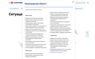 В России запустили интерактивную карту с действующими в регионах COVID-ограничениями