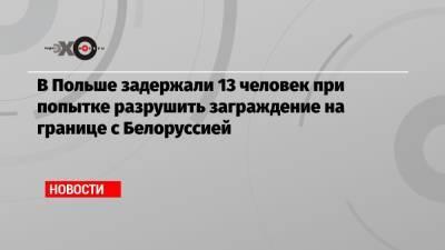 В Польше задержали 13 человек при попытке разрушить заграждение на границе с Белоруссией