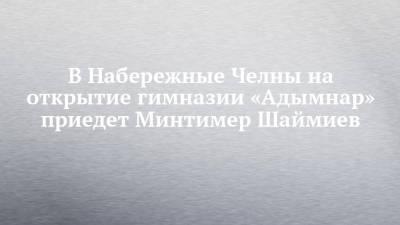 В Набережные Челны на открытие гимназии «Адымнар» приедет Минтимер Шаймиев