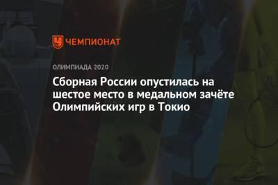 Сборная России опустилась на шестое место в медальном зачёте Олимпийских игр 2021 года в Токио