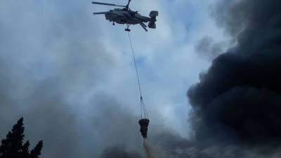 К тушению пожара в Агсуинском районе привлечен вертолет