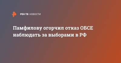 Памфилову огорчил отказ ОБСЕ наблюдать за выборами в РФ