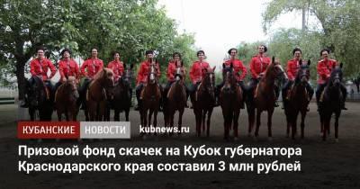Призовой фонд скачек на Кубок губернатора Краснодарского края составил 3 млн рублей