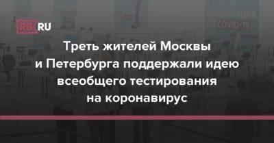 Треть жителей Москвы и Петербурга поддержали идею всеобщего тестирования на коронавирус