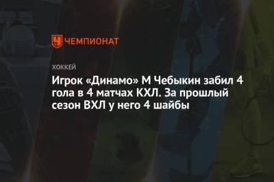 Игрок «Динамо» М Чебыкин забил 4 гола в 4 матчах КХЛ. За прошлый сезон ВХЛ у него 4 шайбы