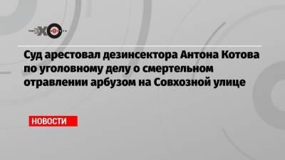 Суд арестовал дезинсектора Антона Котова по уголовному делу о смертельном отравлении арбузом на Совхозной улице