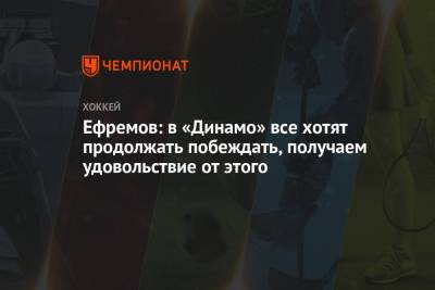 Ефремов: в «Динамо» все хотят продолжать побеждать, получаем удовольствие от этого
