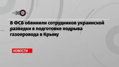 В ФСБ обвинили сотрудников украинской разведки в подготовке подрыва газопровода в Крыму