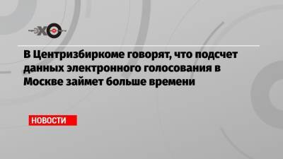 В Центризбиркоме говорят, что подсчет данных электронного голосования в Москве займет больше времени