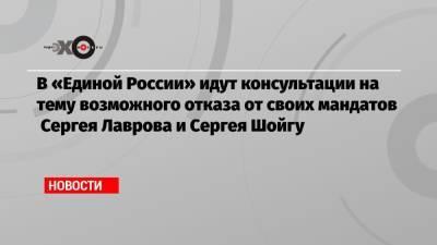 В «Единой России» идут консультации на тему возможного отказа от своих мандатов Сергея Лаврова и Сергея Шойгу