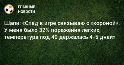 Шапи: «Спад в игре связываю с «короной». У меня было 32% поражения легких, температура под 40 держалась 4-5 дней»