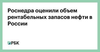 Роснедра оценили объем рентабельных запасов нефти в России