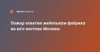 Пожар охватил мебельную фабрику на юго-востоке Москвы
