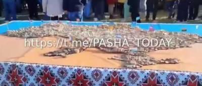Под Одессой создали самую большую карту Украины из колбасы (видео)