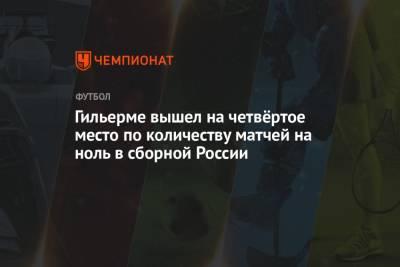 Гильерме вышел на четвёртое место по количеству матчей на ноль в сборной России