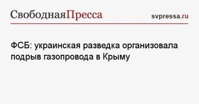 ФСБ: украинская разведка организовала подрыв газопровода в Крыму