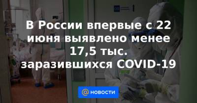 В России впервые с 22 июня выявлено менее 17,5 тыс. заразившихся COVID-19